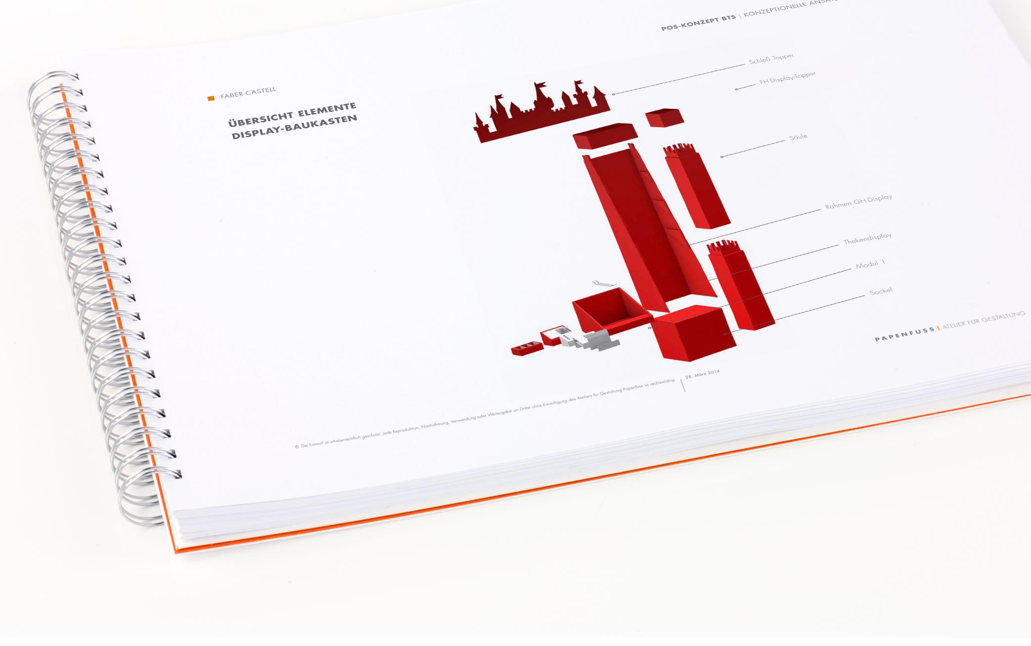 Das Bild zeigt einen Auszug aus dem Konzept Point-of-Sale (für Faber-Castell, 2014).